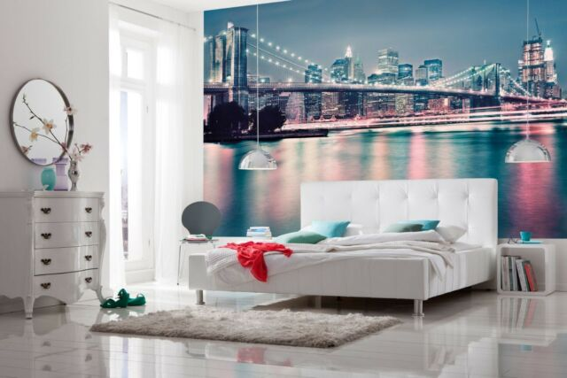 LUXURY Wall Mural Photo Wallpaper NEON NEW YORK LIGHTS Bedroom Decor 368x254cm
