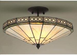 Plafoniere Stile Tiffany : Missione stile tiffany vetro plafoniera semi incasso ebay