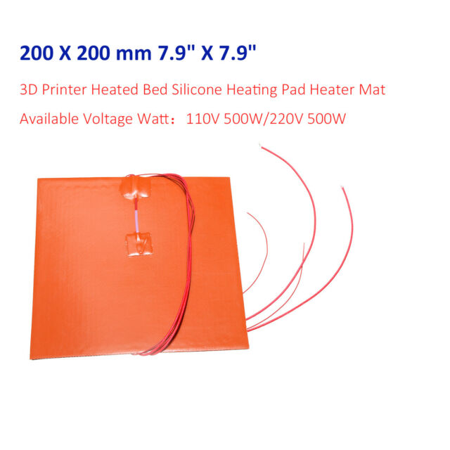 110V/220V Thermistor 3D Printer Heated Bed Silicone Heater Pad 200X200mm 8''X8''