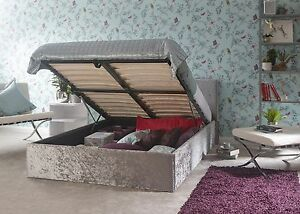Image is loading End-Lift-up-storage-bed-4ft-6-Double- & End Lift up storage bed 4ft 6 Double Ottoman bed Silver CRUSHED ...