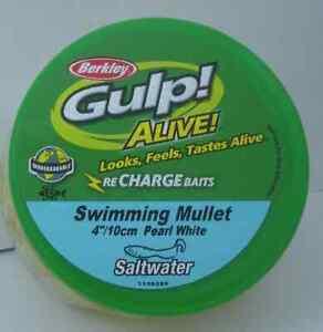 "Berkley GAPSM4-PW Gulp Alive 4"" Swimmg Minnow 11 Oz Bucket Pearl White 10338"