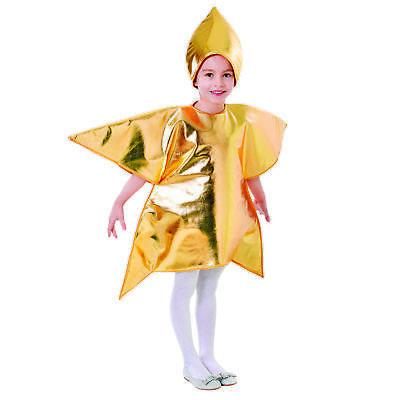 Shining Star Costume Gold Fancy Dress Nativity Childrens Christmas Girls Boys