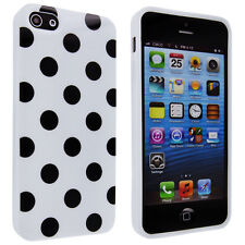 White TPU Gummy Case With Black Polka Dot for iPhone 5 / 5s