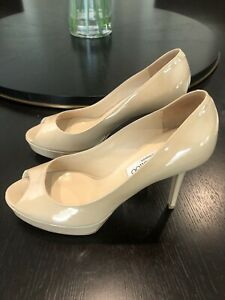JIMMY-CHOO-WONENS-NUDE-PATENT-LEATHER-HIGH-HEEL-OPEN-TOE-PUMPS-SIZE-38-1-2-NEW