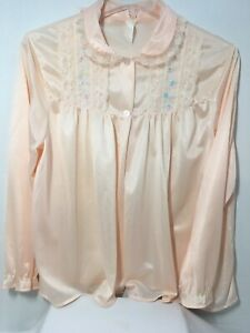 Vintage-Peach-Bed-Jacket-Lace-Embroidery-2-Button-Front-Lingerie-Size-Medium
