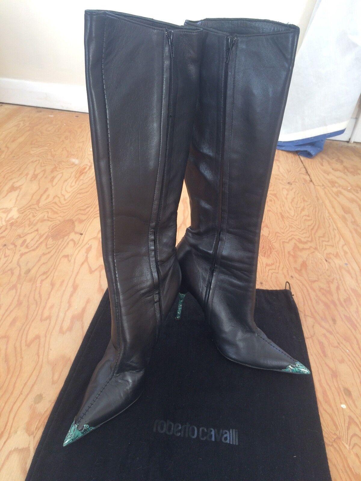 ROBERTO CAVALLI haute genou genou genou bottes en cuir taille 40 149f00