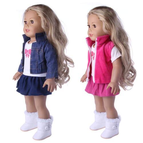 3pcs/set Girl Doll Clothes Dress Suit Set Top Skirt Coat for 18inch Girls Dolls
