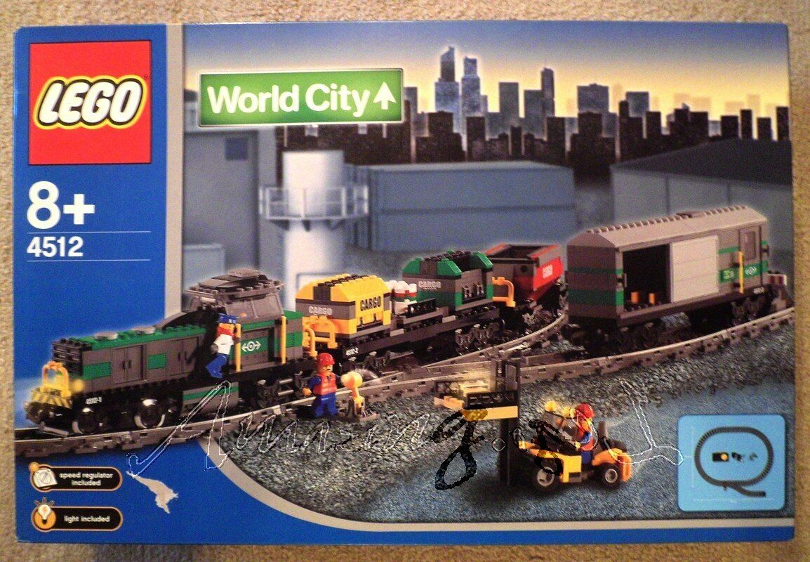 Discontinued Lego 4512 9V Cargo Train With Lights From 2003   Factory Sealed