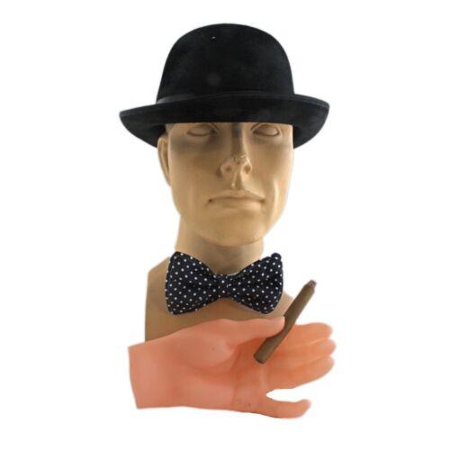 Winston Churchill Costume Kit Noir Derby Chapeau faux cigare nœud papillon 3 Pièces Kit
