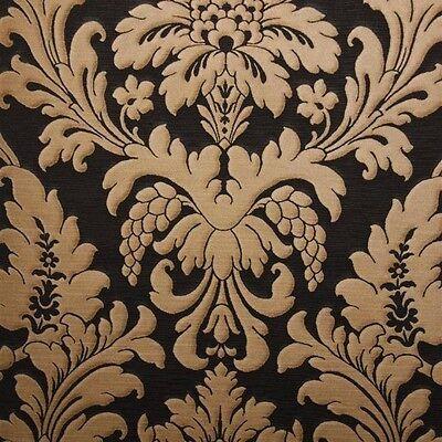 Trianon Black / Bronze Damask Wallpaper 513691