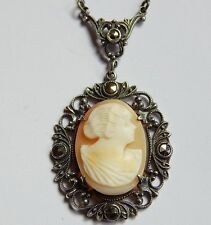 ART DECO STERLING SILVER MARCASITE CARVED SHELL CAMEO LAVALIER NECKLET NECKLACE