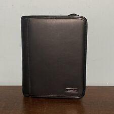 Franklin Covey Compact Zipper Binder Faux Leather 6 Rings Black Pages Scuffs