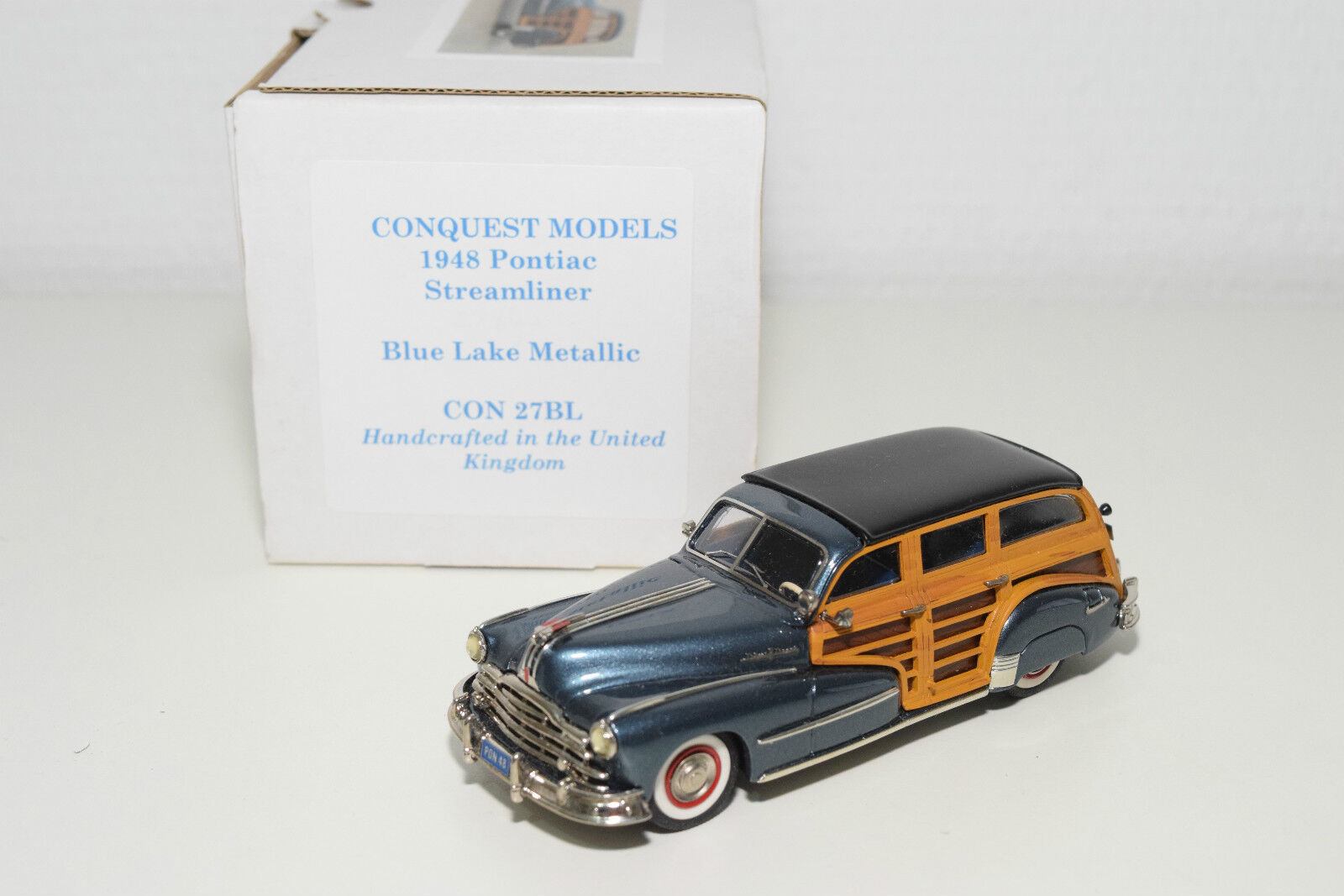 . CONQUEST MODELS 27BL 27 BL PONTIAC STREAMLINER 1948 MET. LAKE blueE MINT BOXED