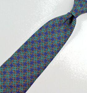 Brooks-Brothers-Mans-Tie-100-Silk-Green-Blue-Links-59-034-X-3-5-034-Nice-tie
