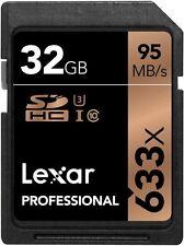 Lexar 633x 32GB SD SDHC Class 10 UHS-I U3 Memory Card Camera 4K 3D Video 95MB/s