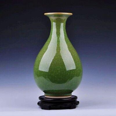 China jingdezhen Porcelain GUAN kiln Ice crackle YELLOW glaze fishtail vase