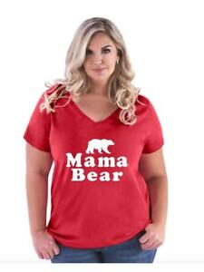 Mother-039-s-Day-Gift-Mama-Bear-Matching-Couple-w-Women-Curvy-Plus-Size-V-Neck-Tee