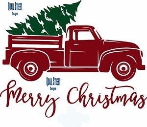 Merry Christmas With Vintage Red Truck Amp Tree Vinyl Decal