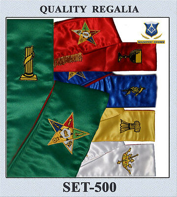 Masonic Order Eastern Star Complete Set Sashes - Set 5 Sashes