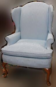 Light Blue Upholstered Queen Anne Style Wingback Chair Ebay