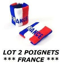 2 BRACELETS DRAPEAU FRANCE serre poignet maillot sport football jogging tennis