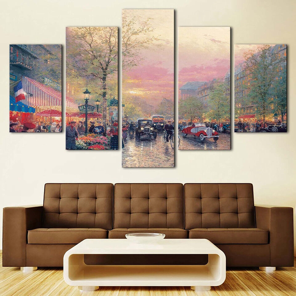 Classic Town City And Cars Abstract Painting 5 Panel Canvas Print Wall Art