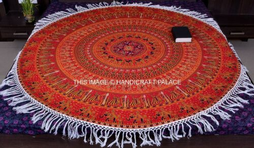 Round Mandala Indian Bohemian Hippie Elephant Tapestry Beach Picnic Throw Rug