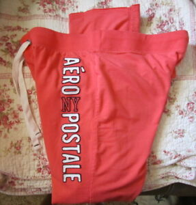 Aeropostale-Womens-NY-Logo-Sweatpants-Pants-XL-Coral-Guaranteed-Authentic