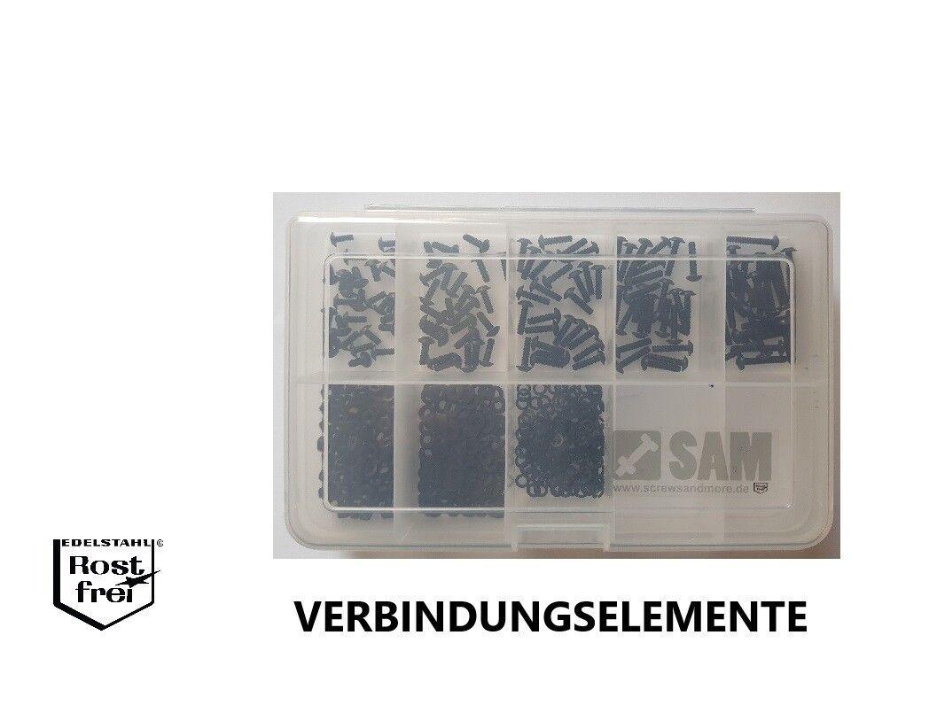 Innensechskantschrauben Set 500 Teile ISO 7380 M2,5 FLANSCH black EDELSTAHL A2