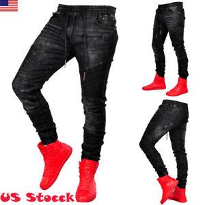 Men-Hip-hop-Jeans-Slim-Skinny-Destroyed-Frayed-Biker-Denim-Joggers-Stretch-Pants