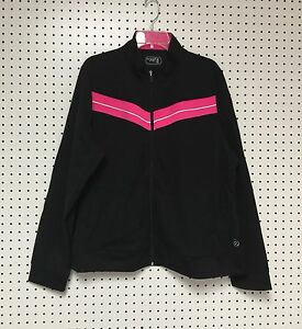 Be-Inspired-Women-039-s-Zipper-Front-Black-Pink-Yoga-Active-Wear-Top-Jacket-3X-NWT