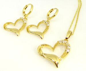 Women-Cubic-Zirconia-14K-Yellow-Gold-Plated-Heart-Dangle-Earring-Necklace-Set-UK