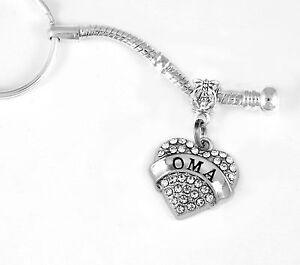 Oma Key Chain Gift Keychain Crystal Heart Charm Oma Gift Oma Present