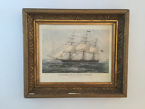 Antique-N-Currier-Clipper-Ship-034-NIGHTINGALE-034-1854-Litho-Print-in-Gilt-Frame