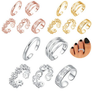 5-Stueck-Set-Damen-Retro-Kupfer-verstellbar-Open-Toe-Ring-Finger-Fussschmuck