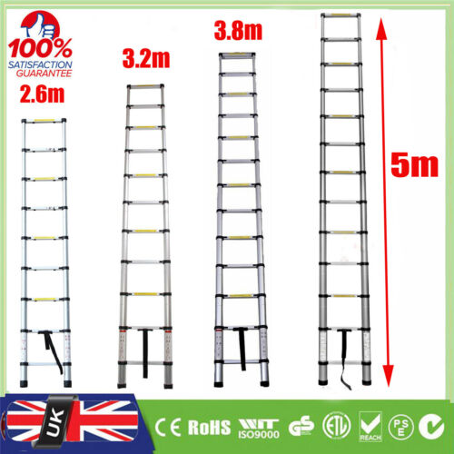 5m 3.8m Multi-Purpose Aluminium Telescopic Ladder Extension Extendable Builders