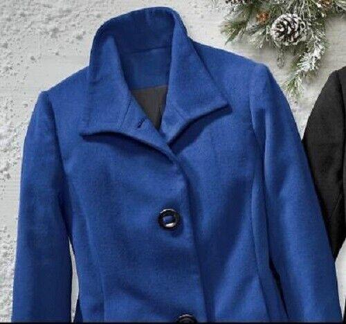 Seventh Avenue Royal Blue Keira Button-Front Wool Winter Coat Size 3X PLUS
