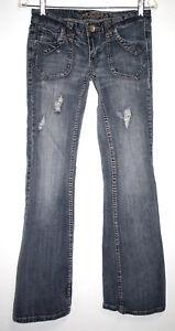 Rue-21-Premiere-Juniors-3-4-Jeans-Light-Blue-Wash-Flared-Leg-Distressed-Stretch