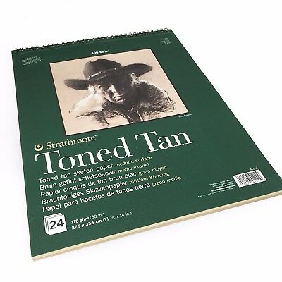 """Strathmore 400 Series Toned Tan Sketch Pad 24 Sheets 11/""""x14/"""" Wire Bound"""