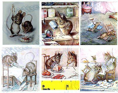 DOLLSHOUSE Miniature  Beatrix Potter Benjamin Bunny  Print  Set CDHM  1:12