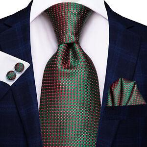 Mens-Tie-Set-Silk-Necktie-Dark-Teal-Green-Geometric-Check-Hanky-Cufflink-Wedding