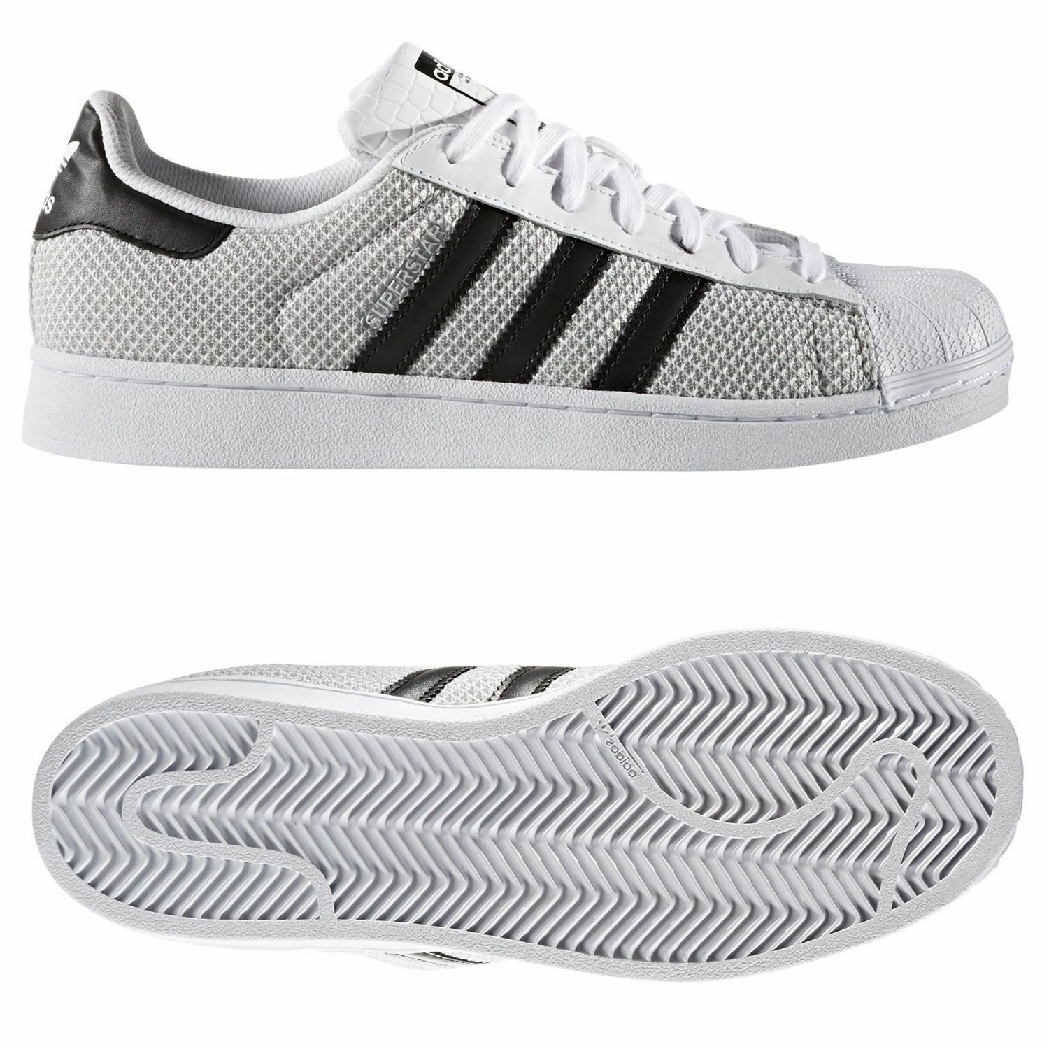 Adidas ORIGINALS SUPERSTAR TRAINERS GREY UNISEX KIDS WEAVE FASHION RARE NEW BNWT