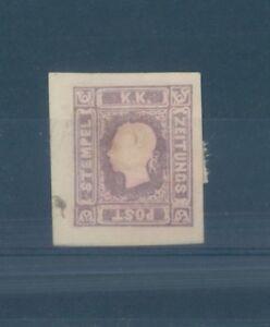 Austria cv Eur1100 $1400 Honest Austria Rare Newspaper Stamp 1858 Mint