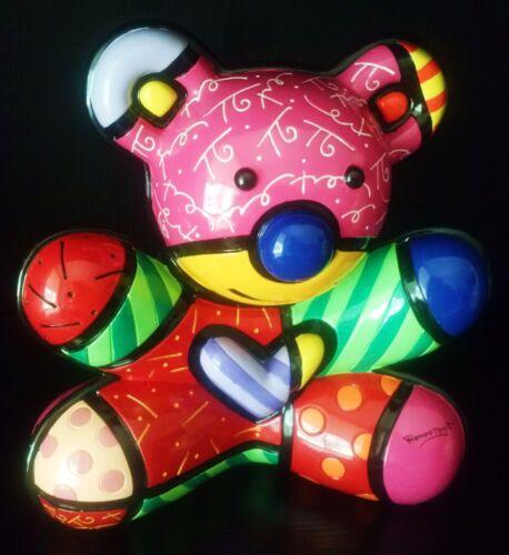 "ROMERO BRITTO /'Fun Bear/' 2011 RETIRED 10/"" Piggy Teddy Bank LARGE Sculpture NEW!"