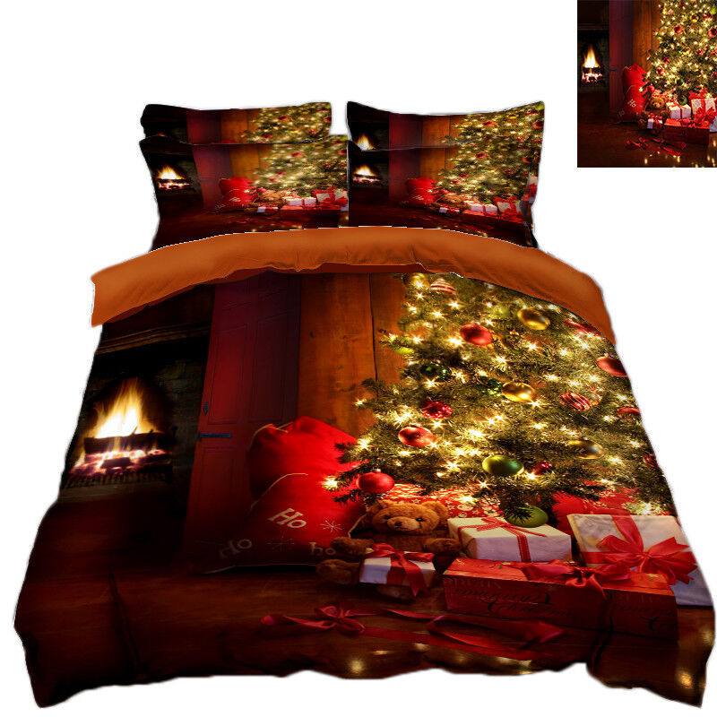 3D Christmas  Xmas Tree 7 Bed Pillowcases Quilt Duvet Cover Set Single Queen UK