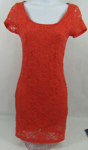 LUSH-NORDSTROM-Womens-Dress-Size-Small-Orange-Lace-Short-Sleeve-Keyhole-Back