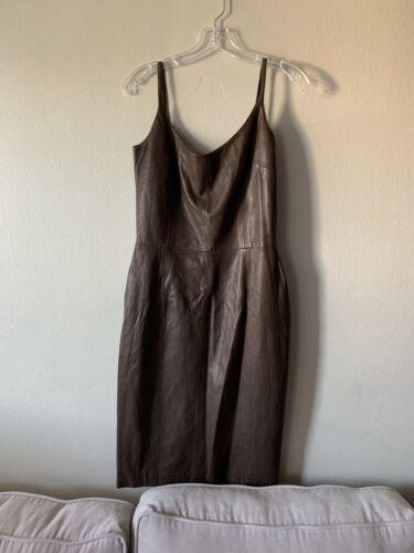 Blass Dress By Bill Blass Vintage Brown Leather Dr