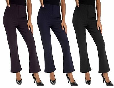 Ladies Womens Finely Ribbed Bootleg Stretch Trouser Pants Size 10 to 24 Trousers