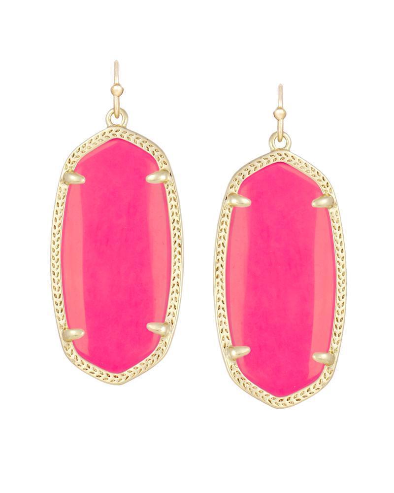 Kendra Scott Neon Pink Elle gold Drop Earrings Rare