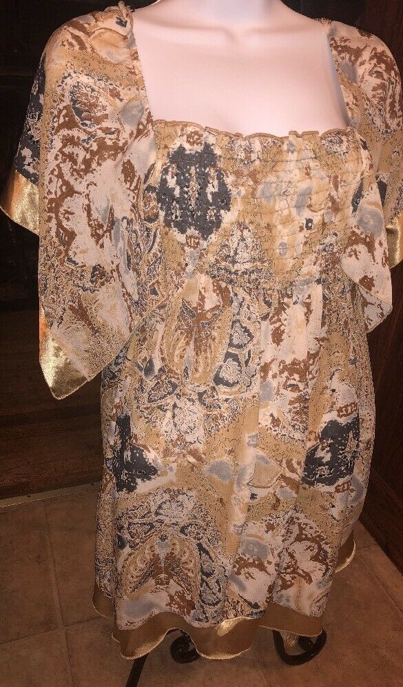 NWOT Agora Tunic Top Off Shoulder Peasant Boho Blouse Semi Sheer Kimono Sleeve M